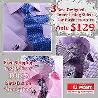 3 Elegant Pink & Lilac Smart Inner Lining Business Shirt Package With Free Tie.