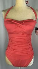Ralph Lauren One-Piece Swimsuit 8 Slimming Fit Halter Ruched Pink New $124