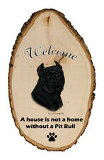 Outdoor Welcome Sign (Tb) - Black American Pit Bull Terrier 51407