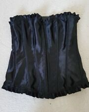 BNWT  CORSETS Black Satin Lace Up Bustier Overbust Corset Top Lingerie Size S