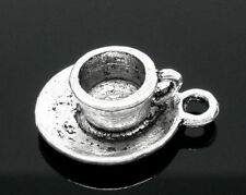 20 Silver Tibetan Coffee/Tea Cup Mug Charms Pendants Jewelry 19x15mm (B05562) US
