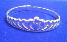 Charming 925 Sterling Silver Women's Crown Style Bangle Bracelet