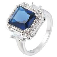 Noble 925 Silver Cut Blue Sapphire Ring Wedding Bridal Women Jewelry Size 6-10