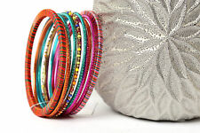 Women's Fashion Fuchsia Multi Boho  Bangles Bracelet Set Fuchsia/Orange