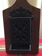 Vintage Wood & Metal Hanging Match Holder Made In Vermont Fireplace