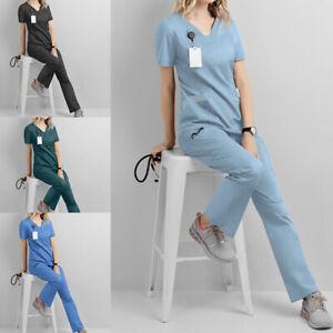 2Pcs Women Men Unisex Nursing Medical Scrub Suit Doctor Nurse Uniform Tops Pants