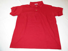 Youth Kids Hanes Stay Clean Polo shirt short sleeve red M 10-12 school