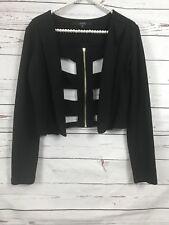 Guess Black Cropped Jacket Cutout Back Zipper Size 4
