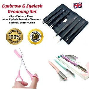 Eyelash & Eyebrow Grooming Set- Razor, Scissor Comb, Eyelash Extension Tweezers