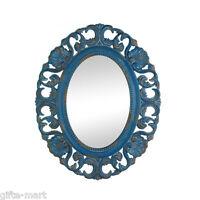 baroque distressed BLUE shabby vintage carved wood bathroom entry Wall Mirror