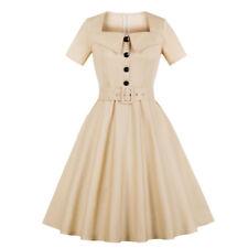 Plus Size 1940s 50s Rockabilly Vintage Style Retro Womens Party Swing Belt Dress