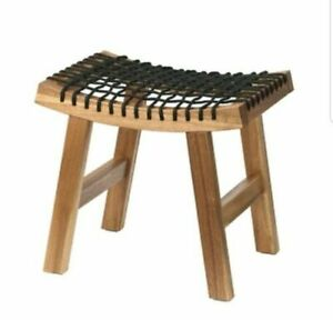 Ikea New STACKHOLMEN Stool, in/outdoor,Light brown stained,48 x 35 x 43 cm