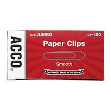 Acco Paper Clips Jumbo Smooth 100 Clipsbox 1 Box 72580