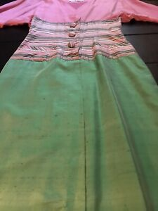 vintage 80's Pink Green Striped Silk Fitted Pencil Dress