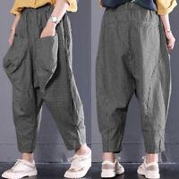 UK 8-24 ZANZEA Women Stripe Harem Pants Casual Elastic Waist Baggy Trousers Plus