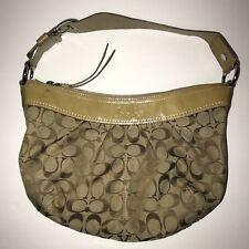 COACH Leather Black Hobo Handbag Soho Pleated Signature Jacquard Purse #F13740