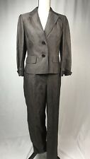 "Ann Taylor Loft Women's Suit ""Laura"" 2pc Silk Linen Brown Pants Blazer Career AP"