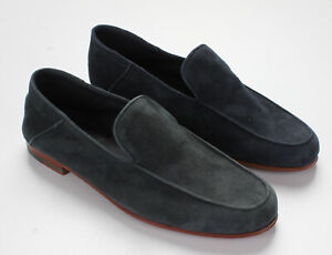 NWT $750 ISAIA NAPOLI SHOES LOAFER blue suede leather handmade luxury Italy 41