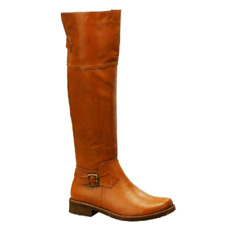 NEW Women Sexy Faux Leather Long Knee High Flat MOTO Western Riding Boot Shoe Sz