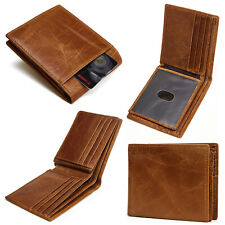 Men's RFID Blocking Full Grain Leather ID Window Multi-Currency Bifold Wallet