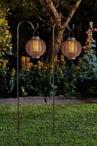 Solar Forli Flaming LED Fire Lantern Twin Pack Stake Lights Silhouette