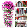 2pcs Hanging Wall Artificial Fake Silk Violet Orchid Flower Rattan Basket Decor