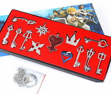13pcs/set Kingdom Hearts II KEY BLADE Silver Necklace Pendant+Keyblade+Keychain