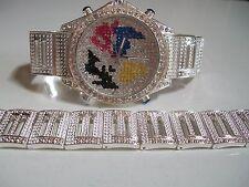 Men's silve finish map dial hip hop bling rapper club style watch & bracelet set