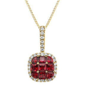 Red Ruby & Round Natural Diamond Cluster Pendant in 14K Yellow Gold