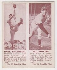 1941 Double Play #85 Hank Greenberg & #86 Red Ruffing, Ex - Mint Condition'