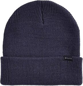 JACK WILLS Mens Navy Blue Consland Rib Beanie Hat One Size