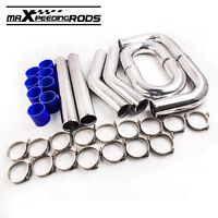 """UNIVERSAL TURBO BOOST INTERCOOLER PIPE KIT 3"""" 76MM 8 PIECES ALLOY PIPING BLUE"""