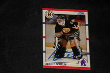REGGIE LEMELIN 1990-91 SCORE SIGNED AUTOGRAPHED CARD #159 BOSTON BRUINS