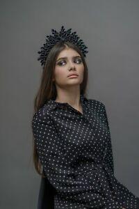 Gothic headpiece Black wedding tiara Dark headdress festival headpiece