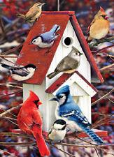Jigsaw Puzzle Animal Bird Winter Birdhouse 1000 pieces NEW Made in USA