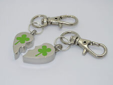 "CREMATION JEWELLERY URN PENDANT PAIR OF KEYRINGS ""FOUR LEAF CLOVER HEART MIZPAH"""