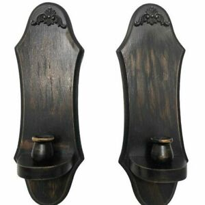 Rustic Black Distressed Solid Wood Candle Holders Antique Vintage Farmhouse