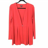 J Jill Womens Red Wearever Collection Long Sleeve One Button Cardigan Top Size M