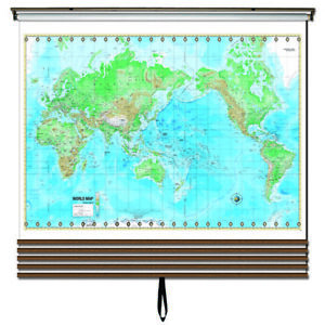Advanced Physical Wall Map Set on Roller w/ Backboard; 5-Map Custom