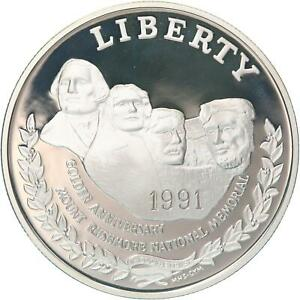 1991 S Mount Rushmore 50th Anniversary Proof Commem 90% Silver Dollar Coin