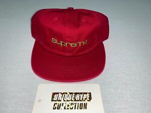 SUPREME COMPACT LOGO 5 6 PANEL HAT BOX CAMP CAP RED STRAPBACK