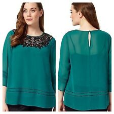 Studio 8 Size 12 Jade Enya Lace Trim Chiffon TOP Occasion Evening Party £69