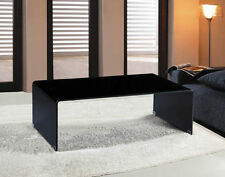 Black Glass Coffee Table - Waterfall Style, Bent Glass