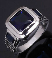 Size 8,9,10,11,12 Man's Jewelry Blue Sapphire 18k White Gold Filled Ring Gift