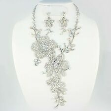 LUXE RUNWAY Statement Silver Austrian Crystal PROM Necklace Set Rocks Boutique