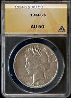1934-S Peace Silver Dollar ANACS AU50