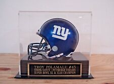 Football Mini Helmet Display Case With A Troy Polamalu Steelers Nameplate