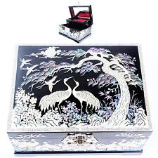 Mother of Pearl Jewelry Boxes Antique Jewelry Organizers 2Drawers Black L35