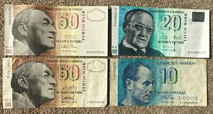 FINLAND: 2 x 50 Markkaa 1986, 20 Markkaa 1993, 10 Markkaa 1986. FIM