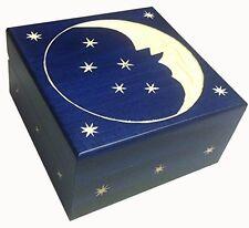 Crescent Moon and Stars Wooden Box Polish Handmade  Keepsake Jewelry Box